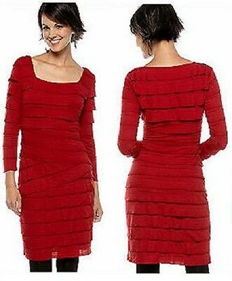 Sophie Max Studio 2B09M50 Ruby Red Tiered Stretch Knit Jersey Dress, M - $118