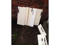 White Gloss Kitchen Unit Doors with Handles Used also Wine/ Drinks Racks Can Deliver