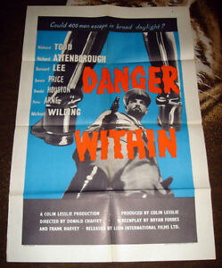 VERY RARE 1959 UK BRITISH P.O.W. WWII WAR MOVIE THEATRE POSTER
