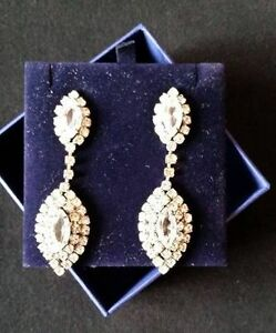 Vintage Teardrop Rhinestone Earrings - Stunning!