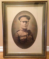 WW1 soldier picture and wood/glass frame - excellent condition