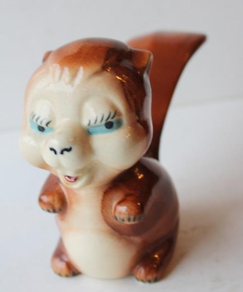 Squirrel Figurine-Vintage Ceramic Pottery Cartoon Comic Hand Painted-Unmarked