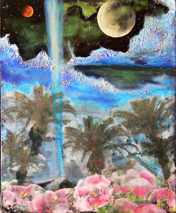 Tropical Ice Planet, mixed media painting on canvas 20x16 West Island Greater Montréal image 1