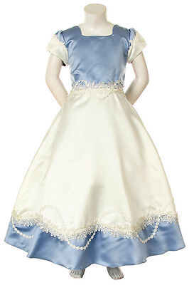 Girl Pageant Bridal Ball Flower Gril Evening Formal Blue/ivory Dress Size 4-12
