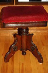 Antique Victorian Organ / Piano Stool Rectangular Swivel Seat