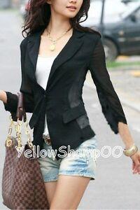 slim-cut-chiffon-thin-blazer-jacket-black-m
