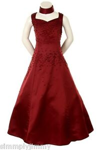 Girl-Pageant-Flowergirl-Evening-ball-Formal-Dress-Burgundy-size-6-8-10-12-14-16