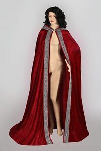Medieval-Renaissance-Cape-Cloak-Handmade-Velour-Velvet-for-Men-Women-with-Hood