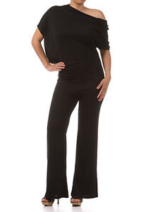 NEW-WOMEN-PLUS-SIZE-BLACK-JUMPSUIT-Asymmetrical-Neck-Dolman-Sleeve-Sexy-1X-2X-3X