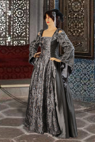 Medieval Renaissance or Gothic Dress Gown Handmade from Embroidered Taffeta