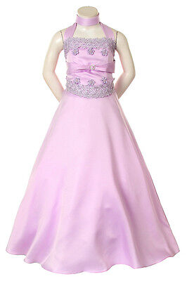Girl Pageant Wedding Party Easter Formal Dress Lilac Ivory 6 8 10 12 14 16