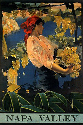 Wine Napa Valley California Lady Grapes 20x30 Vintage Poster Repro Free S/h