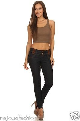 Nwt Watch La Blue Denim Stretch Skinny Jeans Pants W Stitching Design Brown Trim