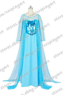 Elsa The Snow Queen (Frozen Cosplay The Snow Queen Elsa Princess Costume Blue Snow Dress Daily)