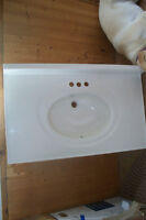 37in X 22in porcelain vanity top for bathroom, new never used