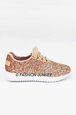 Rose Gold Glitter Bomb Sneakers Tennis Shoes Lace Up Flats Comfortable 5-10
