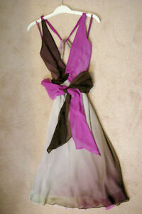 BCBG MAX AZRIA Ombre Chiffon Dress Purple White Brown! WOW! Windsor Region Ontario image 2