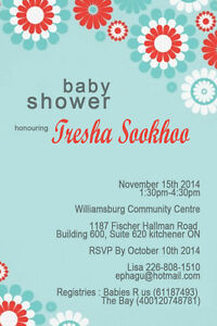 Custom baby birth announcements, shower invites and info picture Kitchener / Waterloo Kitchener Area image 8