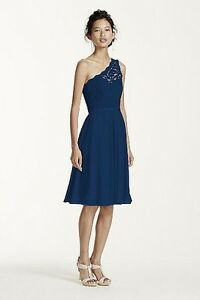 DavidsBridal One Shoulder Lace Navy F15711 Size 10 Peterborough Peterborough Area image 1