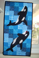 Orca whale quilted wall hanging