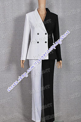Lady Two-Face Cosplay Costume Black White Outfit Suit Outfit - Two Face Cosplay Suit