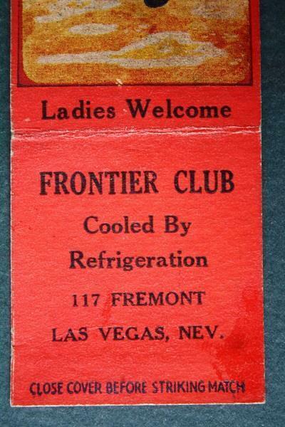 Las Vegas Nevada Frontier Club Casino matchbook cover-Cowboy scene 1940-50s Era