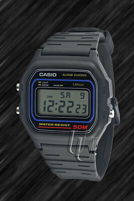 Casio Classic, schwarz, Retro-Style digital Uhr,W-59-1V, Alarm, 50m Wasserdicht Casio Uhr Alarm