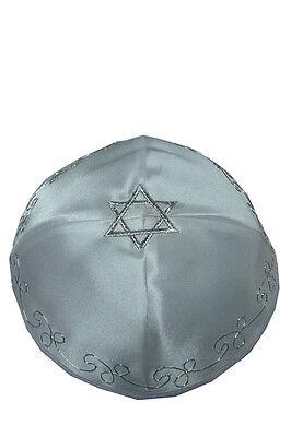 Jewish White satin Kippah Kipa Yarmulke Silver Star of David ornate designs