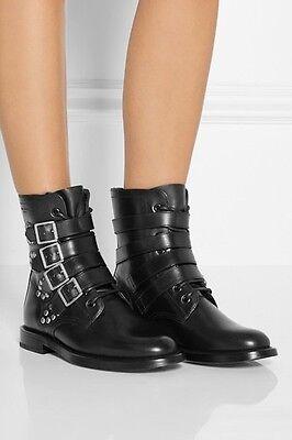 YSL Yves Saint Laurent Rangers Runway Ankle Combat Boots Shoes 37.5 7.5