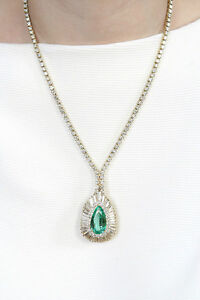 Stunning-Necklace-Emerald-10-96-ct-Pear-Shaped-amp-14-82-ct-Pave-039-Diamonds