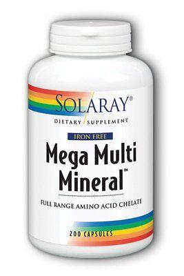 Iron Free Mega Multi Mineral Solaray 200 Caps