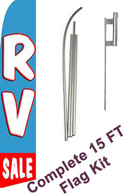 Rv Sale Tall Advertising Banner Flag Complete Sign Kit 2.5 Feet Wide Blue
