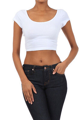 Crop top scoop neck short sleeve fitted tee casual stretch cotton solid top