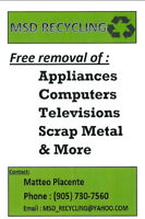 FREE! Appliance, electronics & scrap metal removal!