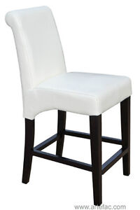 3 - RollBack Leather Counter Height Kitchen Stool in Off-White