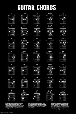 GUITAR CHORDS CHART - BLACK & WHITE POSTER - 24 x 36 - MUSIC 11465