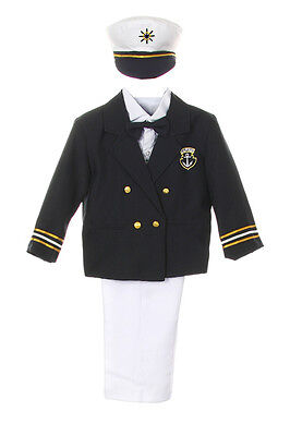 Baby Boy Toddler Formal Party Captain Sailor Suit +Hat Outfits New Born- 7 Years - Toddler Sailor Suit
