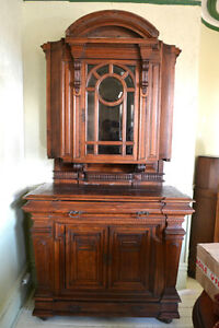 Buffet vaisselier chêne antique victorien sculptée