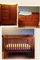 Nursery Set - Dark Pine Crib, Armoire Dresser, Change Table