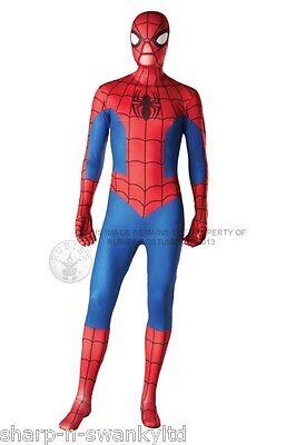 Boys Mens Ladies Spiderman 2nd Skin Jumpsuit Bodysuit Fancy Dress Costume Outfit ()