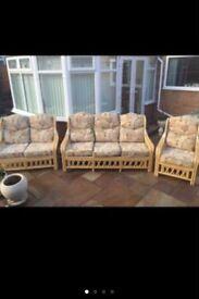 Pine wicker 3 piece furniture set