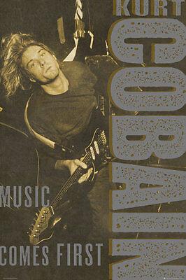 KURT COBAIN - MUSIC COMES FIRST POSTER - 24x36 GUITAR NIRVANA 33966