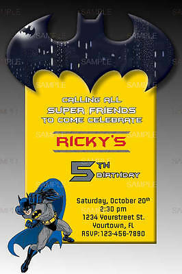Custom Batman Personalized Birthday Invitations (Custom Batman Invitations)