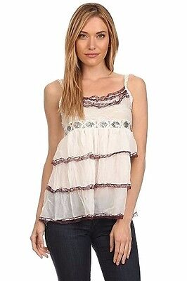 New Women's Juniors Tiered IVORY Baby Doll Sleeveless Lace Sequin Top sz MEDIUM ()