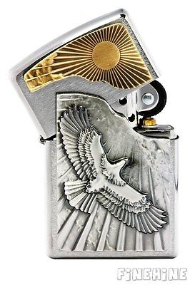 EAGLE SUN FLY neu+ovp EMBLEM-ZIPPO Chrome Brushed