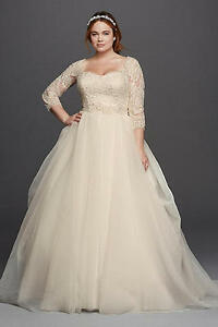 Oleg Cassini Plus Size Organza 3/4 Wedding Dress