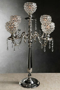 "30"" Silver Wedding Crystal globe candelabra Centerpiece"