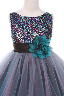 Flower Girl Dresses Teal (Christmas Holiday Pageant Flowers Girl Dresses Teal Blue Formal Wedding Prom)