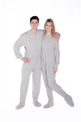 Big Feet Pajamas Grey Jersey Knit Adult Footed Pajamas with Drop Seat -