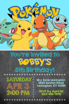 Pokemon Invitations - Personalized - Birthday Party - Shipped or Printable - Personalized Party Invitations